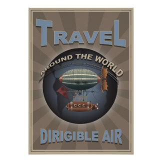 Dirigible Air Vintage World Travel Poster