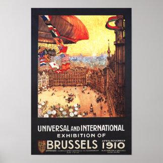 Dirigible de Lebaudy con las banderas del mundo en Posters