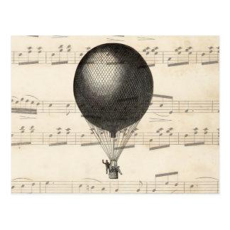 Dirigible del globo del aire caliente de Steampunk Tarjeta Postal