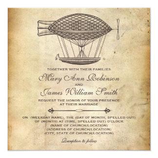 """Dirigible del Victorian del boda de Steampunk Invitación 5.25"""" X 5.25"""""""