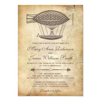 """Dirigible del Victorian del boda de Steampunk Invitación 5"""" X 7"""""""