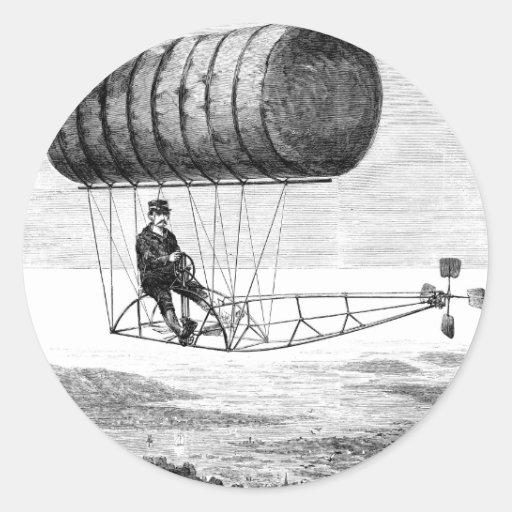 Dirigible del vintage/dirigible del dirigible no pegatinas redondas