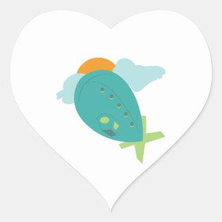 Dirigible no rígido pegatina en forma de corazón