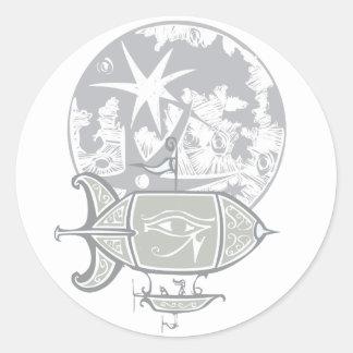 Dirigible no rígido y luna egipcios etiquetas redondas