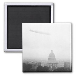 Dirigible Over D.C., 1920s 2 Inch Square Magnet