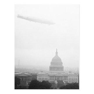 Dirigible Over D.C., 1920s Postcard