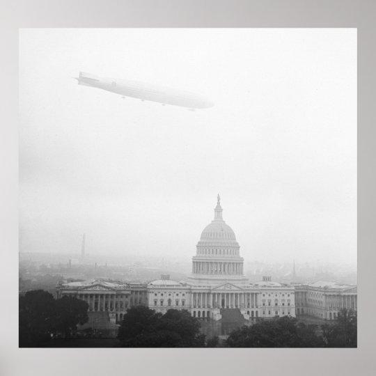 Dirigible Over D.C., 1920s Poster