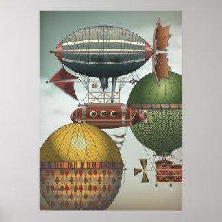 Dirigibles apretados de Steampunk del tráfico del  Impresiones