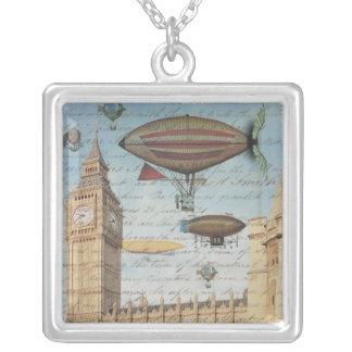 Dirigibles de Steampunk en el cielo sobre Londres, Colgante Cuadrado