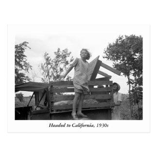 Dirigido a California, los años 30 Postales