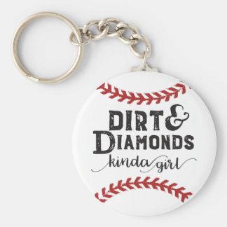 Dirt and Diamonds Kind Of Girl Softball Theme Keychain
