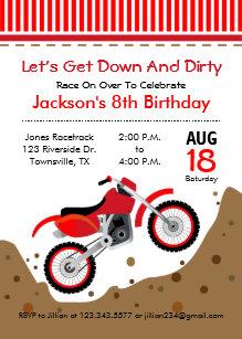 Dirt bike invitations announcements zazzle dirt bike birthday party invitation in red filmwisefo