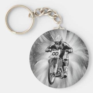 Dirt Bike Blasting Thru Black/White Keychain
