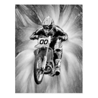Dirt Bike Blasting Thru Black/White Postcard