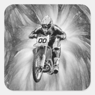 Dirt Bike Blasting Thru Black White Square Stickers