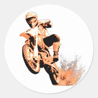 Dirt Bike Blasting Thru (Orange) Round Stickers