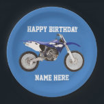 "Dirt Bike Blue Birthday Sport Paper Plates<br><div class=""desc"">These birthday plates are great for the kid or adult that loves dirt bikes and riding the trails. For the race champion,  these sporty paper plates will help them celebrate in style.</div>"