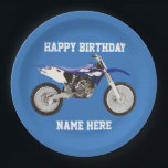 """Dirt Bike Blue Birthday Sport Paper Plates<br><div class=""""desc"""">These birthday plates are great for the kid or adult that loves dirt bikes and riding the trails. For the race champion,  these sporty paper plates will help them celebrate in style.</div>"""