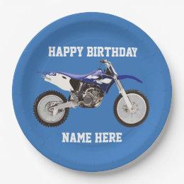 Dirt Bike Blue Birthday Sport Paper Plates