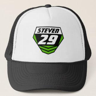 Dirt Bike Front Number Plate: Green - Light Number Trucker Hat