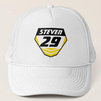 Dirt Bike Front Number Plate: Yellow - Dark Number Trucker Hat