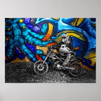 Dirt Bike Graffiti Urban Street Art Poster