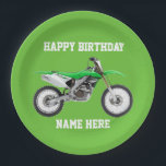 """Dirt Bike Green Birthday Sport Paper Plates<br><div class=""""desc"""">These birthday plates are great for the kid or adult that loves dirt bikes and riding the trails. For the race champion,  these sporty paper plates will help them celebrate in style.</div>"""
