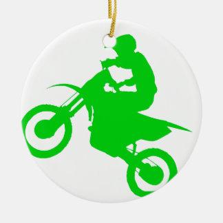 DIRT BIKE (green) Ceramic Ornament