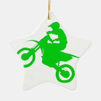 DIRT BIKE (green) Double-Sided Star Ceramic Christmas Ornament
