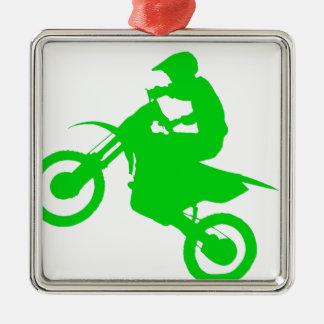 DIRT BIKE (green) Metal Ornament