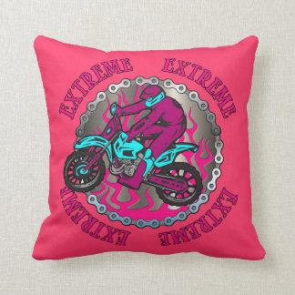 Dirt Bike Jumper Pink Girls Decorative Pillow