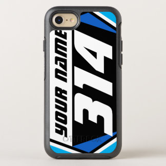 Dirt Bike MX Racing Number - Blue - White Number OtterBox Symmetry iPhone 7 Case