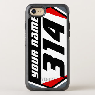 Dirt Bike MX Racing Number - Red - Black Number OtterBox Symmetry iPhone 8/7 Case