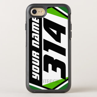 Dirt Bike Number Plate - Green - Black Number OtterBox Symmetry iPhone 7 Case
