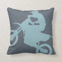 DIRT BIKE ( pale blue ) CROPPED Throw Pillow