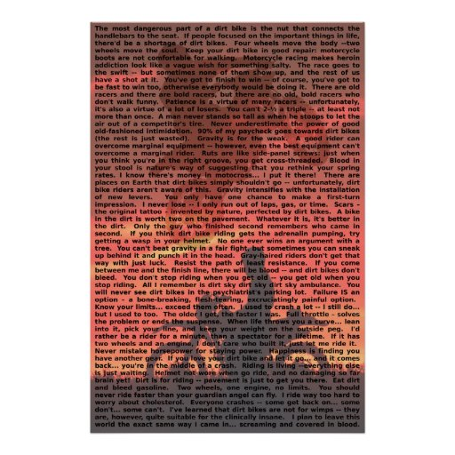 Dirt Bike Quote Poster 001