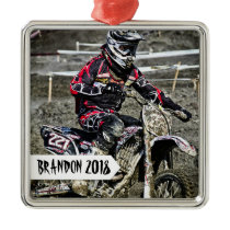Dirt Bike Racer Personalized Name Photo Metal Ornament