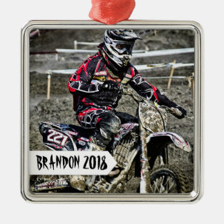 Dirt Bike Racer Personalized Name Photo Square Metal Christmas Ornament