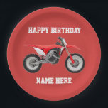 "Dirt Bike Red Birthday Sport Paper Plates<br><div class=""desc"">These birthday plates are great for the kid or adult that loves dirt bikes and riding the trails. For the race champion,  these sporty paper plates will help them celebrate in style.</div>"