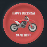 """Dirt Bike Red Birthday Sport Paper Plates<br><div class=""""desc"""">These birthday plates are great for the kid or adult that loves dirt bikes and riding the trails. For the race champion,  these sporty paper plates will help them celebrate in style.</div>"""