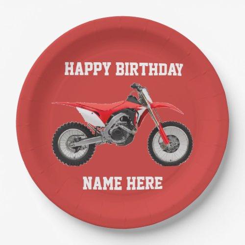 Dirt Bike Red Birthday Sport Paper Plates
