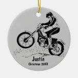 Dirt Bike Rider Ornament (silver gray)
