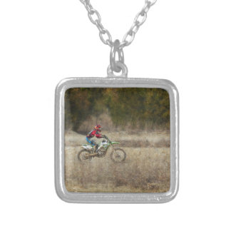 Dirt Bike Riding Silver Plated Necklace