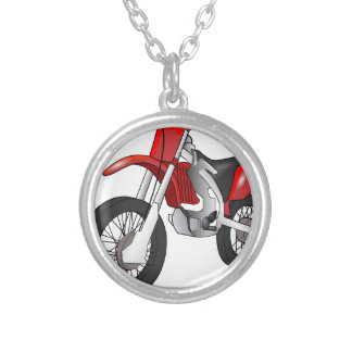 Dirt Bike Round Pendant Necklace