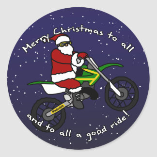 Dirt Bike Santa Classic Round Sticker