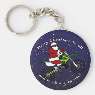 Dirt Bike Santa Keychain