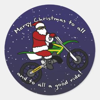 Dirt Bike Santa Round Stickers