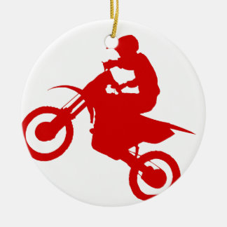 DIRT BIKE (scarlet) Ceramic Ornament