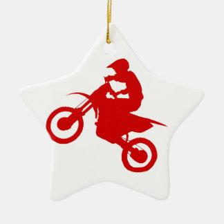 DIRT BIKE (scarlet) Double-Sided Star Ceramic Christmas Ornament