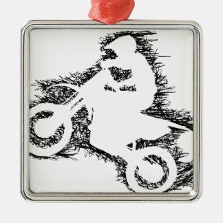 DIRT BIKE (scribble black) Metal Ornament